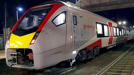 The first new Stadler train for Greater Anglia travelled from Norwich to Diss and back. Picture: GRE