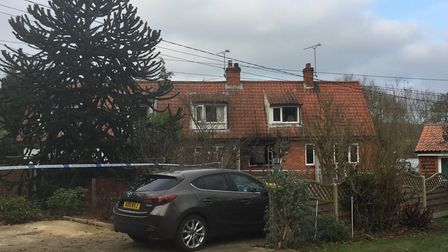The house where the person died in a fire in Yoxford Picture: ANDREW PAPWORTH