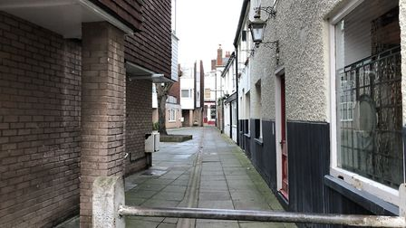 The lane is a small walkthrough allowing access to the nearby flats Picture: JAKE FOXFORD