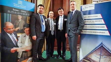 speakers including Stansted CEO Ken O'Toole (R) at East of England China Forum