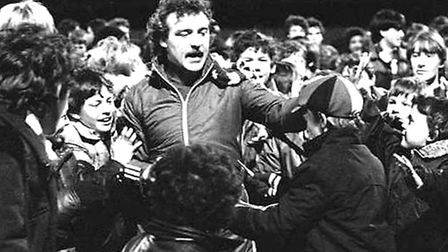 Kevin Beattie mobbed by fans at his testimonial. A campaign is launched today for a statue in his ho