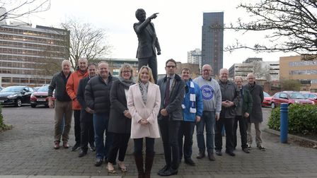 The Kevin Beattie Statue Campaign committee at the Sir Bobby Robson statue Picture|: SARAH LUCY BRO