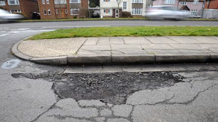 Only 28% of people were happy with Suffolk's road surfaces. Picture: ARCHANT