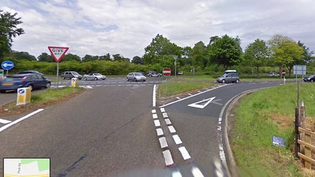 The scene of the crash on the A12 near Saxmundham. Picture: GOOGLE MAPS