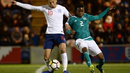 Andre Dozzell in action for England U20s against Germany at Colchester on Monday night. Photo: Pagep