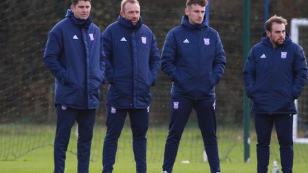 Stuart Taylor (left) and Matt Gill (second left) watch on as Ipswich Town beat Crystal Palace U23s o