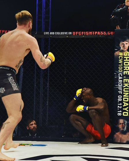 James Webb closes in to finish Jason Radcliffe at Cage Warriors 99 in Colchester. Picture: BRETT KIN