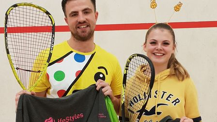 Racketball winners at Harwich Sports Centre, Phil Lewis and Hattie Callen. Picture: TENDRING DISTRI