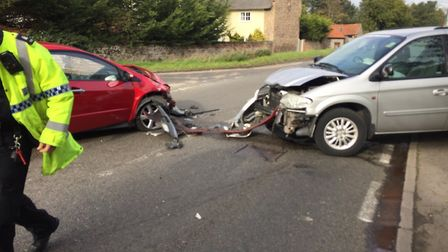 Head on crash in Eriswell in October. Picture: RUSS ELLISON