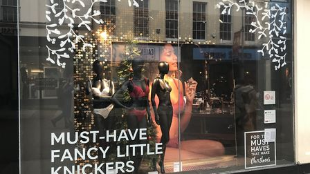 The window display at Marks and Spencer's Ipswich store, showing the 'must have fancy little knicker
