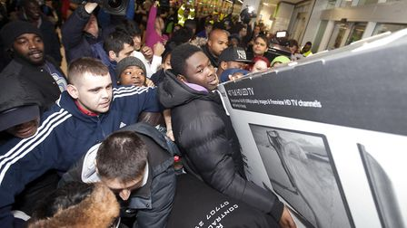 Black Friday has become a big retail opportunity. This 2014 picture shows enthusiastic shoppers at t