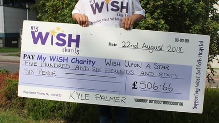 Kyle Palmer with the cheque for £506.66 which he handed over to the MyWiSH Charity. Picture: MY WISH