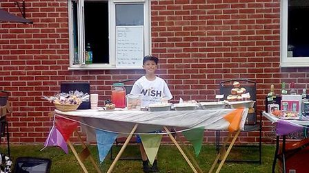 Kyle Palmer with his stall. Picture: MY WISH CHARITY