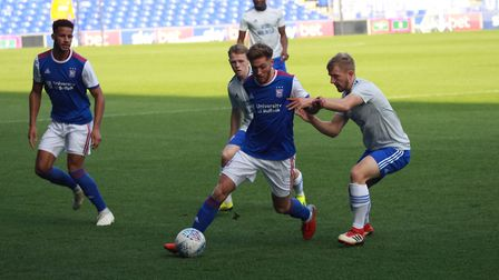 Teddy Bishop in action for Town U23s against Cardiff recently. Picture: ROSS HALLS