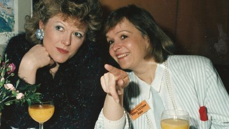 Christine Webber with her good friend and fellow presenter Helen McDermott in their Anglia TV days.
