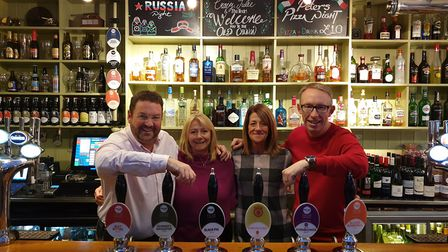 From left to right new owners Chris and Fiona Gerard of Innventure and Old Cannon managers Julie and
