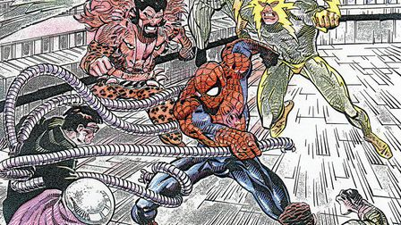 Spider-Man battles his deadilest enemies in a page from his best-selling comic-book Photo: Tim Quinn