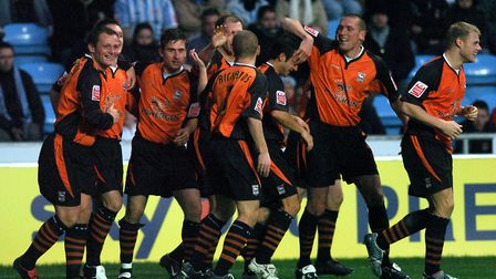 All smiles for Ipswich after Gavin Williams gave Ipswich the lead at Coventry on this day in 2005
