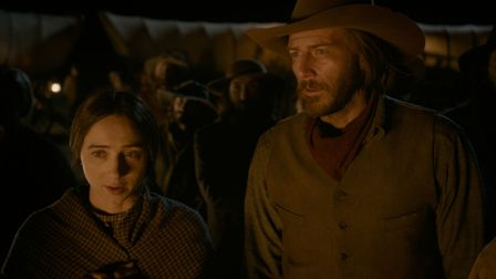 The Ballad Of Buster Scruggs. Pictured: Zoe Kazan as Alice Longabaugh, Bill Heck as Billy Knapp. See