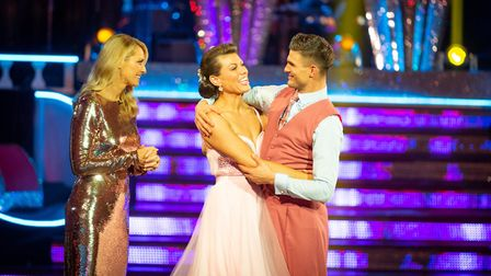Kate and Aljaz leave the competition Tess Daly - (C) BBC - Photographer: Guy Levy