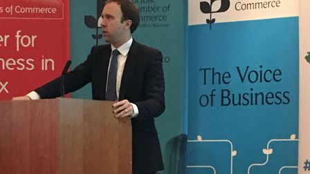 Matt Hancock MP speaking at the Not-Spots Summit held at Newmarket Racecourse. Picture: SUFFOLK CHA