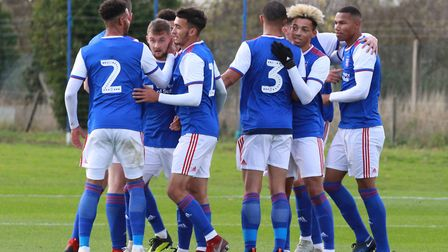 Ipswich Town U23s celebrate one of their five goals Picture: ROSS HALLS