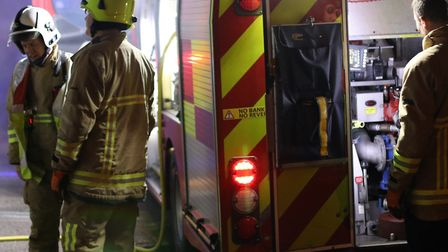 Fire crews called out to cut off roof of car following crash in Raydon. Picture: KJ SPEAR