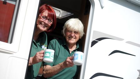 Ann Osborn and founder Sally Fogden of the Rural Coffee Caravan charity Picture: SARAH LUCY BROWN