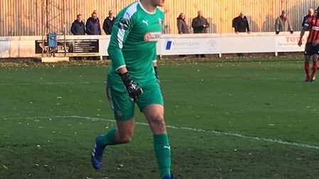 James Bransgrove patrols his area during Coggeshall Town's 3-2 win at Bury Town last weekend. Pictur
