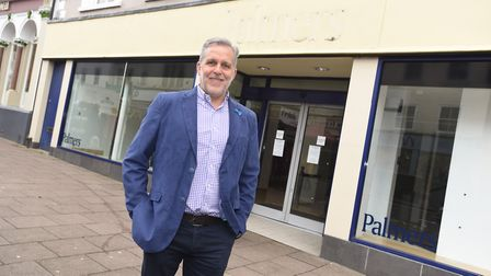 Mark Cordell, outside the former Palmers fashion store in the Buttermarket, Bury St Edmunds. Picture