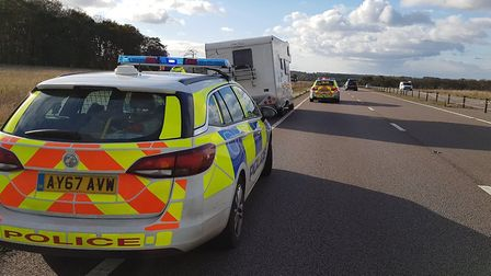 Police attended the scene of a blown out tyre on the A11 between Barton Mills and Elvedenl. Picture:
