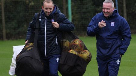 New first-team coach Matt Gill, pictured at training with Paul Lambert. Picture: Ross Halls