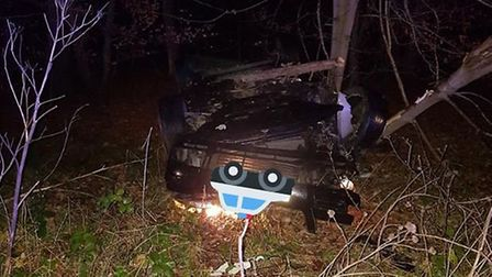 A VW Passat could be seen overturned on teh side fo the road. Picture: MILDENHALL POLICE
