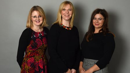 From left, Philippa Green, senior account manager, Emma Hart, business and finance manager, and Nico