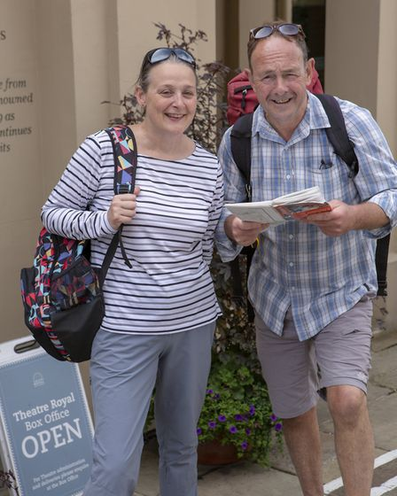Tony Kelly and Dawn Roberts, principal walkers on the Theatre Royal Bury St Edmunds 200 for 200 spon