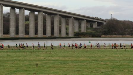 The impressive sight of senior runners streaming along a 4.7-mile route towards the Orwell Bridge du