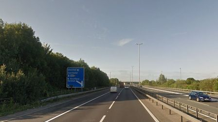 The M11 near the junction with Stansted Airport where a collision occurred this morning Picture: GOO