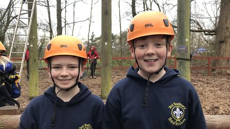 Pictured left to right are Sudbury Scouts Dylan Cook and Elliott Sparks who joined 4,000 other scout