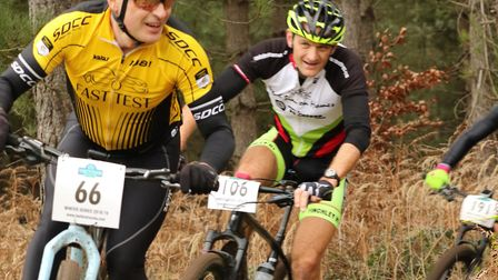 Julian Bosley (Stowmarket & District) followed by Simon Hime in Thetford Forest. Picture: JOHN STYLE