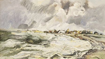 Sheila Fell's 1965 oil, Allonby - Approaching High Tide sold for �24,000 at the Sworders sale of the