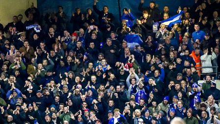 Town fans celebrate after the 1-0 victory over Rotherham United. Picture: STEVE WALLER WWW.ST