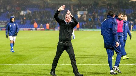 Town manager Paul Lambert applauds fans in the North Stand his side's 1-0 win over Wigan. Picture
