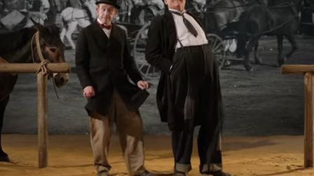 Steve Coogan and John C Reilly as the classic comedy duo Laurel and Hardy shooting Way Out West in
