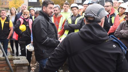 Nick Knowles addresses the tradesmen at the build Picture: GREGG BROWN