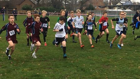 The start of the minor boys' race, held over a 3,200-metre course