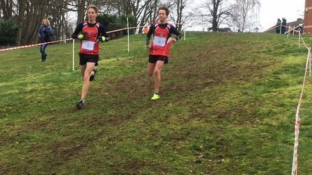 Charlie Turner (No. 4) and Kit Evans Lombe (No. 6), both from Woodbridge School, who finished fourth
