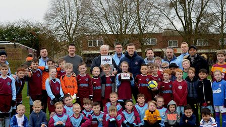 James Morley from Suffolk FA presents Hardwick Primary School with their Charter Standard accreditat