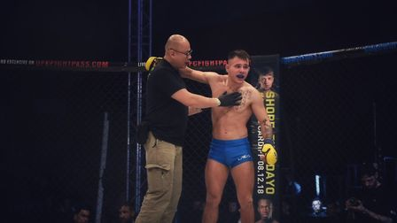 Chey Veal enjoys his win at Cage Warriors 99 in Colchester. Picture: BRETT KING