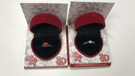 The Poundland 'Bling Ring' range includes gold and silver rings with red or blue stone, each present