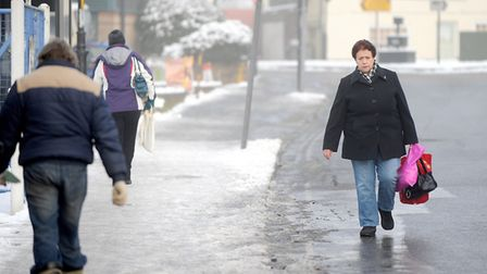 Pedestrians struggle through icy conditions in Sudbury during a previous winter Picture: GREGG BROWN